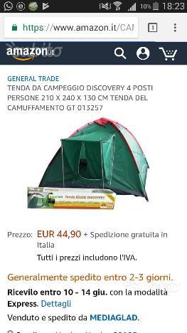 Tenda campeggio 4 posti