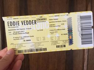 Vendo biglietto Eddie Vedder Firenze