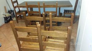 Tavolo in legno massello in castagno con 8 sedie