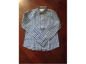 Camicia Hollister taglia S, quadretto bianco/blu, manica