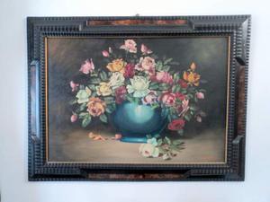 Dipinto olio su tela firmato natura morta fiori