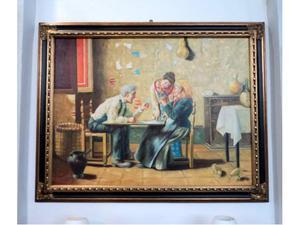 Dipinto olio su tela firmato personaggi nonni 900'