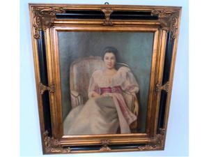 Dipinto olio su tela firmato personaggio dama 900'