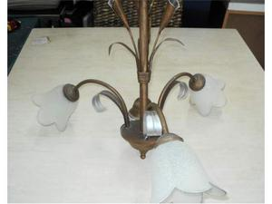 Lampadario a 3 luci in ferro battuto lampada