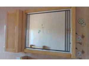 Specchio bagno + accessori in legno rovere