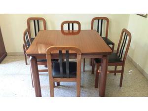 Tavoli Allungabili E Sedie In Coordinato.5 Sedie Liberty Neoclassico Noce Intarsiata Pelle Posot Class
