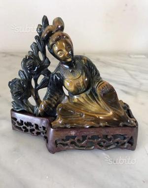 Antichità scultura cinese in occhio di tigre