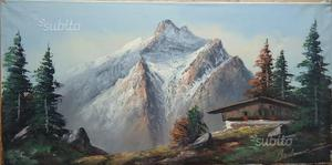 Dipinto olio su tela, paesaggio alpino n.15