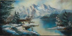 Dipinto olio su tela, paesaggio alpino n.19