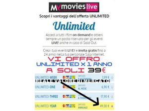 "Abbonamento film on demand mymovieslive unlimited ""no sky"""