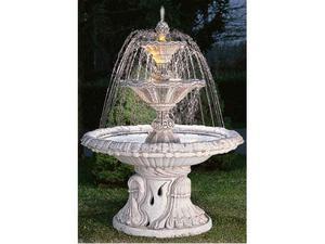 Fontana da giardino in cemento bianco con decorkit cm