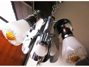 Lampadario VINTAGE a 3 faretti/punti luce in vetro, cromato