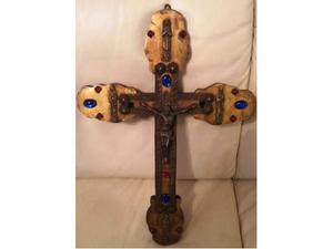 croce legno trattato pietre dure cristo in bronzo