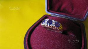 Anello in oro con 3 ametiste e 4 brillantini