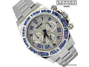 ROLEX Daytona  diamonds dial blue bezel Full Set