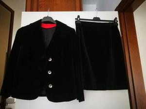 Tailleur donna completo 3 pezzi velluto nero tg 40