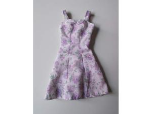 BARBIE accessori: abito viola a fiori con bretelle