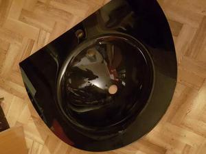 Lavabo bagno vetro nero senza rubinetteria