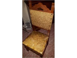 Set da 6 sedie in legno massello e tessuto