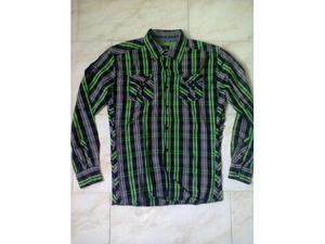 Camicia Uomo Casual Quadri MUCH MORE Tasca Cotone Maniche