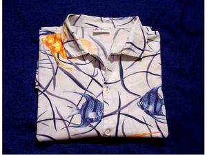 Camicia shirt uomo tropical fish blu arancio tg.l - ottima