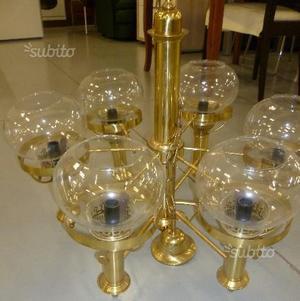 Lampadario 6 luci con diffusori in vetro color oro