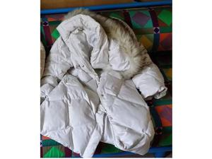 Piumino bianco tg.46 con cappuccio, regalo giaccone beige