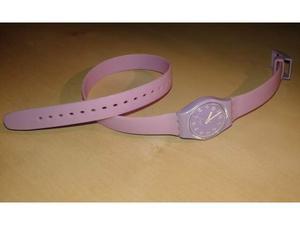 Orologio swatch viola con cinturino lungo