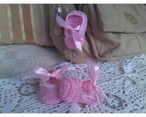 Portachiavi scarpina danza rosa ad uncinetto