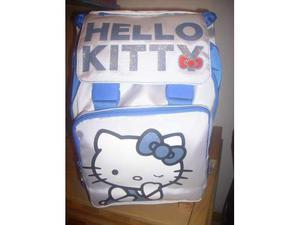 Zaino estensibile blu bianco hello kitty + astuccio in