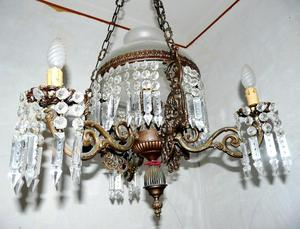 Lampadario liberty di bronzo lavorato e gocce   Posot Class -> Lampadario Antico Verniciato