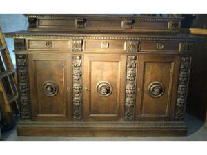 Mobile credenza antica primi 900 in legno noce scuro