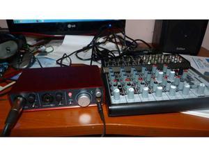 Sheda audio focusrite scarlett 2i2 + mixer behringer