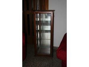 Vetrinetta in legno massello con specchio e 4 ripiani in