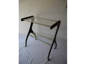 Consolle in metallo con ripiani in vetro anni '50