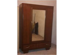 Armadio in legno ad 1 anta con specchio e cassettone