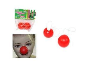 Naso da clown rosso pvc 2pz per carnevale teatro animazione