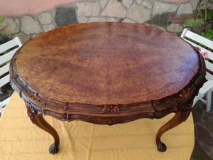 Tavolino ovale da salotto in radica di noce anni 50