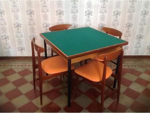 Tavolo da gioco con sedie design scandinavo anni '50 vintage