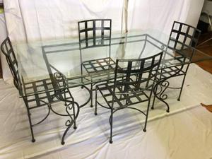 Tavolo in ferro battuto e vetro, 175x95