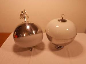 Lampadario sfera cromata e lampada terra/mobile/tavolo