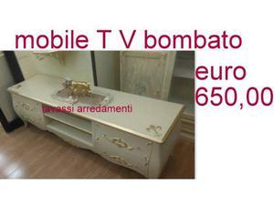 Porta televisore bombato avorio e oro stile posot class - Porta televisore classico ...