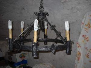 Lampadario ferro battuto brunito 6 luci
