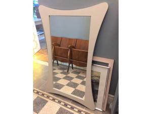 Specchio beige Shabby Chic in legno massello 78x100cm