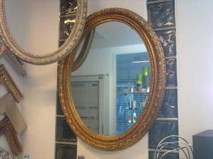 Specchio ovale cornice in legno