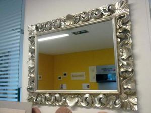 Specchio design moderno ovale foglia argento posot class for Specchio argento moderno