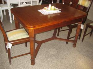 Tavolo Biedermeier in legno di rovere, allungabile + sedie