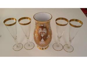 Vaso dorato in vetro di Bohemia + 4 flute bordo dorato