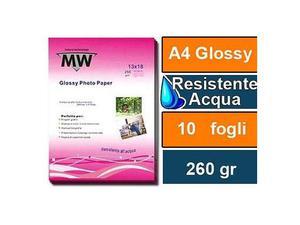 10 fogli carta fotografica mw premium glossy 260 gsm a4