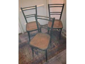 3 Sedie in legno nere con seduta in paglia Vienna